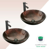 2 PCS Round Bathroom Vessel Sink Faucet Combo W/ Drain Tempered Glass Bowl Top
