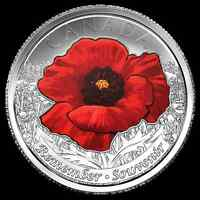 Canada 2015 Remembrance Day 2 Varieties 25 Cent Poppy Coins  Flanders Fields.