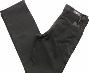 Men's Stretch Black Trousers Straight Leg Zip Fly Pants Sizes: Waist 32 - 42