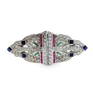 925 Sterling Silver Brooch Pin Blue Princess Art deco Double Clip Highend Jewel