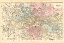 1891 ANTIQUE MAP - TOWN PLAN, GLASGOW