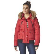 Bebe Women's Hooded Puffer Bomber Winter Jacket, Size LARGE, Red
