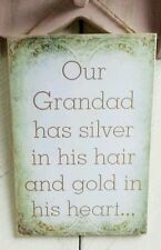 """""""Our Grandad"""" Handmade beige gift plaque birthday Fathers day presents"""