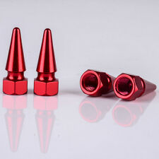 4pcs Red Aluminum Alloy Nut Car Auto Wheel Tire Air Valve Stem Cap Cover