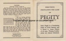 Vintage Pegity Game Directions for Play Parker Brothers Trade Mark No 513205