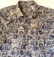 Weekender Hawaiian Aloha Camp Shirt Tapa Print Blue Beige Ivory L Made in USA