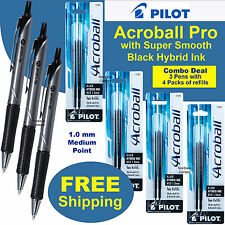 Pilot Acroball Pro 31910, Black Hybrid Ink, 3 Pens With 4 Packs of Refills 77297
