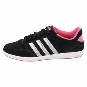 Adidas Unisex's Womens Black & Pink Neo Hoops Trainers Three 3 Stripes