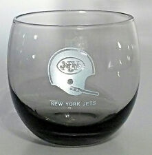 NFL NY JETS  HELMET GLASS Etched Smoked Stemless Wine Rock Glass New York Jets