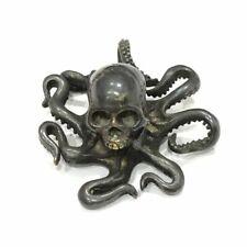 Vintage Skull Octopus Figurine Desktop Ornament Decoration Brass Skeleton Animal