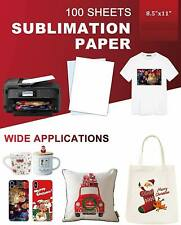 100 Sheets Sublimation Paper 85x11 For Inkjet Printer Epson Canon Heat Transfer