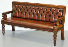 STUNNING FULLY RESTORED CHESTERFIELD BROWN LEATHER MAHOGANY BENCH PART OF SUITE