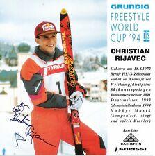 Christian Rijavec esquí freestyle 15 x 15 cm tarjeta autógrafa firmada 407080