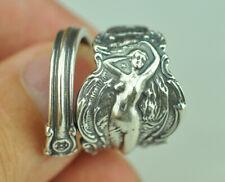 Beautiful 925 Sterling Silver Large Nude Venus Girl Spoon Ring