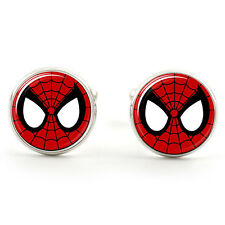 SPIDERMAN SPIDER WEB CUFFLINKS  SILVER PLATED + FREE GIFT BOX  & 1ST CLASS POST
