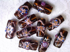 Vtg 10 RARE AMBER RECTANGULAR WEDDING CAKE GLASS BEADS  22mm #080818w