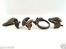 4 Pottery Barn Fox Napkin Ring Set Figural BRONZED Metal Figural Fox NIB