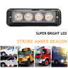 4 LED Strobe Flash Emergency Hazard Beacon Warning Amber Light Bar Car Truck ATV