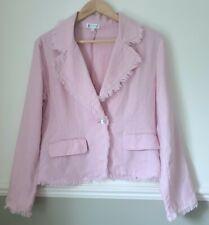 Ladies Pink Jacket Blazer 100% Linen Wedding Smart Summer Size 1 Small UK 8-10