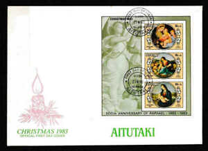 Aitutaki 1983 Christmas Complete Minisheet FDC  -  Mint