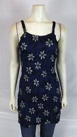 Bali Girl Navy Blue Gray Cover Beach Tunic Top Dress Womens Size Small Medium