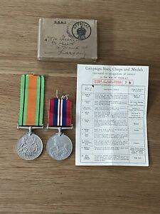 Old Original British WW2 War & Defence Medal Full Size Medal Box