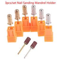 3Pcs Nail Sanding Bands Mandrels Holder Drill Bit File Manicure Polishing EAS