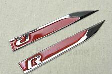 2Pcs Red R Car Left & Right Side Fender Skirts Knife Type Sticker Badges Emblems