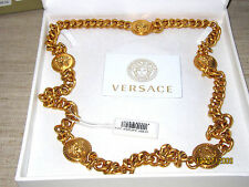 100% AUTHENTIC BNWT $1395 VERSACE SIGNATURE MEDUSA COIN LONG CHAIN NECKLACE 36""