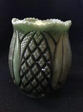 Vintage Molded Carved Wax Candle Green Urn Vase Pillar