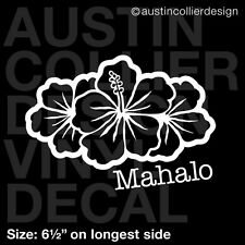 "6.5"" MAHALO vinyl decal car window laptop sticker - hibiscus aloha hawaii flower"