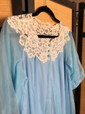 Vintage Gossard Artemis Blue Nylon Chiffon Peignoir Robe Bust 42 Lingerie Pin Up