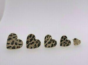 10k Yellow Gold Diamond-Cut Heart Nugget Stud Earrings XS S M L XL