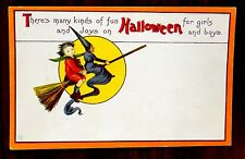 BOY & WITCH ON BROOM FUN & JOYS ON HALLOWEEN BOYS & GIRLS Fantasy JEP Postcard