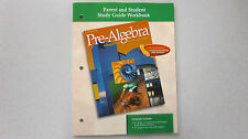 %Glencoe Pre-Algebra Parent and Student Study Guide Workbook 0078235995 NEW