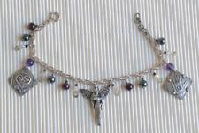 Sterling amethyst and gemstone Angel Bracelet by Ursula Goad ~ Vintage  Rare