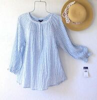New~Blue & White Gingham Check Peasant Blouse Cotton Boho Top~Size Medium M