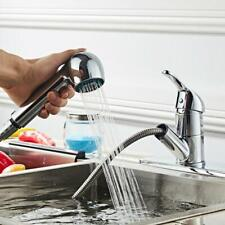 Pull Out Sprayer Single Hole Swivel Sink Mixer Tap Polished Chrome Faucet