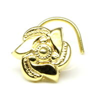 Indian Nose Stud, Gold plated nose ring, corkscrew piercing ring twisted wire