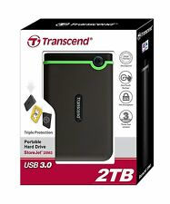2TB Transcend 2 TB USB 3.0 Military Shock Resistance External Hard Drive HDD HD
