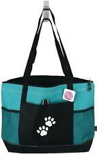 Paw Prints Monogram Bag Gemline Teal Zip Tote Sports Team Mascot Pet Adopt Gift
