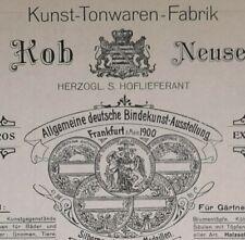ALTE RECHNUNG NEUSES BEI COBURG KUNST TONWAREN FABRIK HOLIEFERANT ARNO KOB 1921