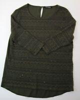 Betty Barclay Damen Shirt Gr.36 grün uni Rundhals 3/4-Arm Strick -RP409