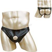 Sexy Herren Lack Leder Jockstrap Bikini Brief Unterwäsche Schritt Offen mit Loch