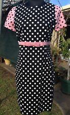 DANGERFIELD Black Pink White Polka Dot Shift Dress with Bow SIZE 14 EUC