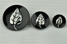Three VTG Black and Silver Glass Sewing Buttons Embossed Leaf Signed La Mode