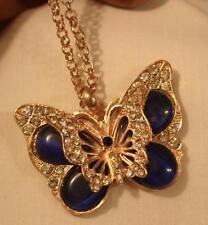 Gorgeous Layered Cobalt Blue Glass Rhinestone Butterfly Goldtne Pendant Necklace