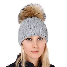 31c7464a1be Grey Wool Hat with Finn Raccoon Fur Pom Pom! Ashen Beanie Winter Cap Bobble  Hat