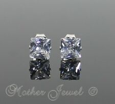 5mm SOLID 925 STERLING SILVER Simulated Diamond Square Cut Unisex Stud Earrings