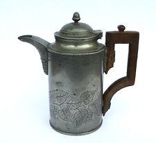 antike Zinnkanne Kaffeekanne Jugendstil mit Holzgriff 19. Jh